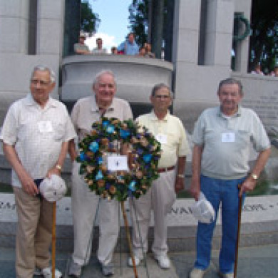 memorial wreath at blue spaders reunion in washington dc